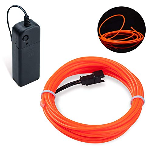 Lysignal 16ft Neon Glowing Strobing Electroluminescent Light Super Bright Battery Operated EL Wire Cable for Cosplay Dress Festival Halloween Christmas Party Carnival Decoration (Orange)]()
