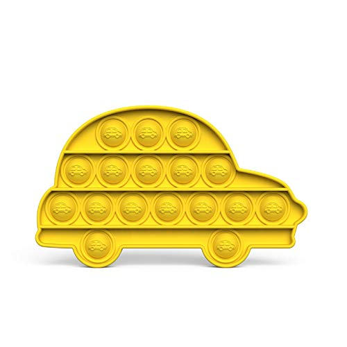 "Sensory Pop Toy, Push Bubble Extrusion Stress Relief Squeeze Decompression Accessory (Yellow Car, 15.4cmx9.3cmx1.5cm/6.06""x3.66""x0.59"")"
