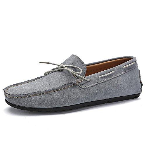 Genuino Hombres Cuero Gris 2018 Los Confort Mocasines Gamuza Penny Eu Para Conducción Boat Tamaño Suela De Hombre Zapatos Goma Sole Color 41 wvFq00