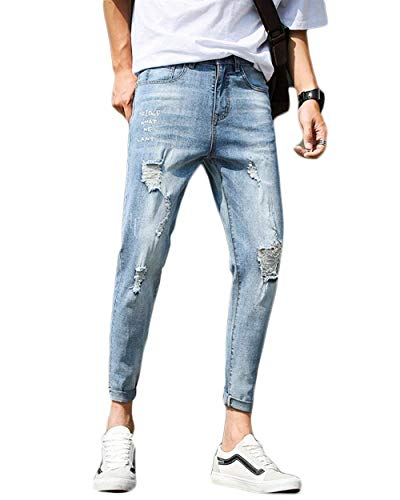 Uomo Pantaloni Abbigliamento Conici Taglio Slim Da In Adelina Stile Dritto A Con En Jeans Strappati Hellblau T Denim Retrò Buco w86q8zpIX