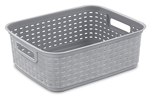 Sterilite 12726A06 Short Weave Basket, Cement, 6-Pack (Plastic Baskets For Storage)