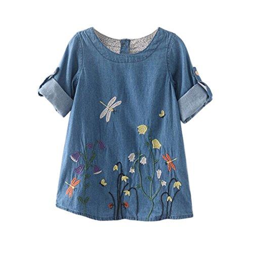 [Misaky Kids Child Baby Girls Flower Embroidery Denim Princess Dresses (120CM(Age:4/5T), Light Blue)] (Denim Romper Costume)