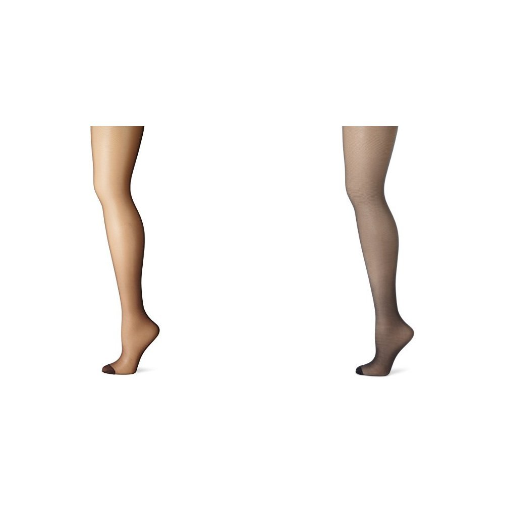 Hanes Women's 2 Pack Control Top Reinforced Toe Silk Reflections Panty Hose, Barely Black/Classic Navy, A/B