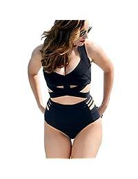 Luckmagic Women Plus Size Swimsuits High Waist Padded Strappy Bikini Set Swimwear