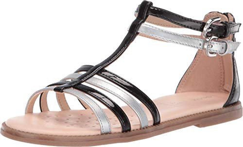 Geox Kids Girl's Sandal Karly Girl 28 (Little Kid/Big Kid) Black/Silver 33 (US 2 Little Kid)
