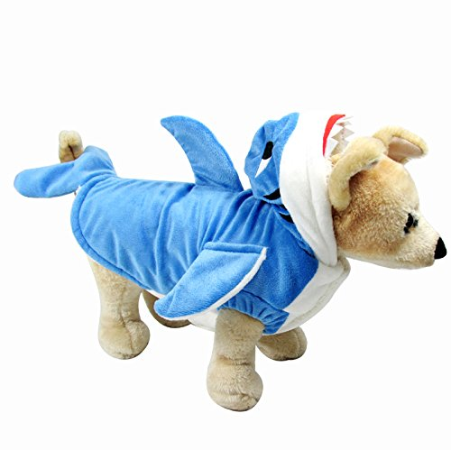 CozyCabin Pet Dog Sweater Blue Shark Pet Costume Hoodie Cotton Coat for Dogs Cats, Autumn and Winter (M) - Pet Cat Shark Costumes