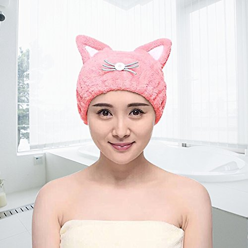 Microfiber Bath Towel Hat Hair Quick Drying Towel Hat Cute Bath Tool Super Soft Absorbent Hair Dry Hat with Premium Water-absorbent Ability for Ladies or Girls (Pink)