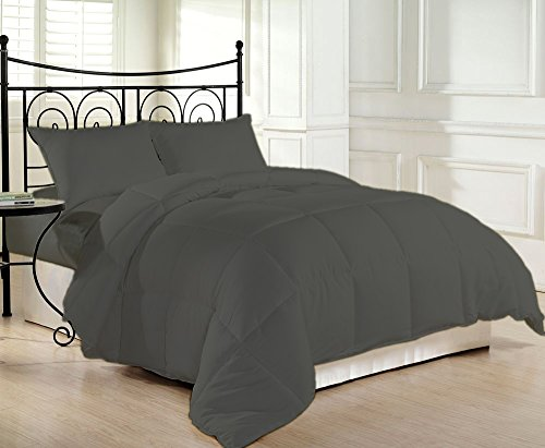 Space Egyptian Cotton Living - 600 Thread Count Luxurious and Cozy 100% Egyptian Cotton Comforter Grey California King By Kotton Culture Solid (Cocoon Feel 300 GSM Appropriate for Winters Microfibre filling)