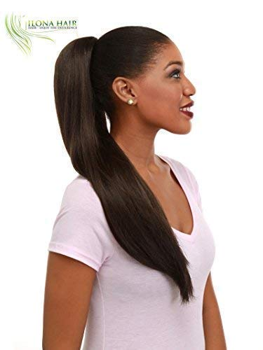 Long Straight Ponytail Hair Extension in Auburn Brown