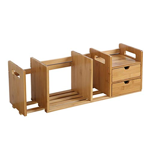 UPDD-Home Desktop Bookshelf Counter Top Bookcase with 2 Drawers, Desk Storage Organizer Display Shelf Rack for Office Supplies(Natural Bamboo)