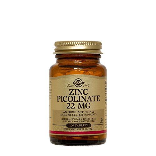 Solgar - Zinc Picolinate, 22mg, 100 Tablets (3 Bottles) (Tablets 100 Zinc)