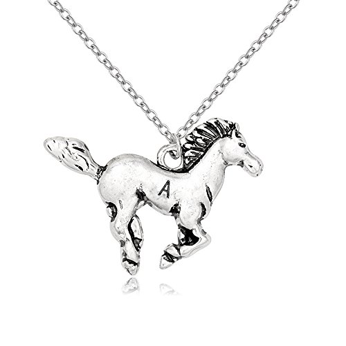 - TUSHUO Simple Antique Silver Plated Horse Pendant Necklace Monogram 26 Letter Horse Necklace (A)