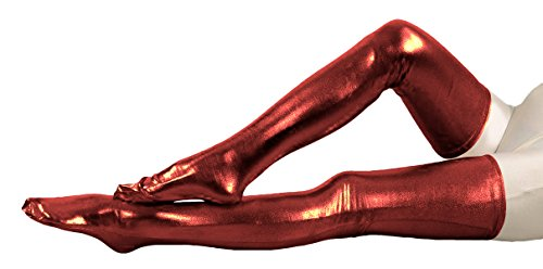 VSVO Red Metallic Spandex Party Thigh High Skintight Costume Stockings (31