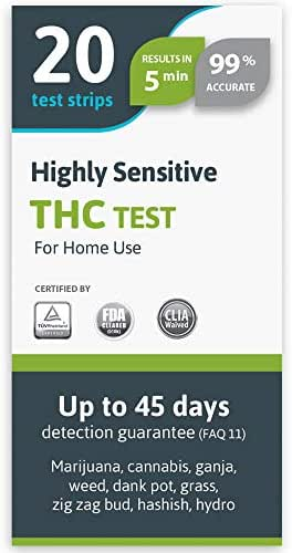 SelfCheck Highly Sensitive Marijuana THC Test Kit - Medically Approved Drug Test Strips for Detecting Any Form of THC in Urine up to 45 Days in 5 Minutes Only