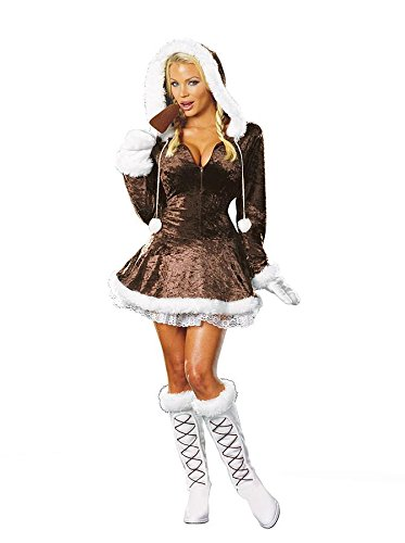 Dreamgirl Women's Eskimo Cutie Costume, Brown, Small