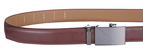 """Marino Men's Genuine Leather Ratchet Dress Belt With Automatic Buckle, Enclosed in an Elegant Gift Box - Radiant Ore - Umber - Adjustable from 28"""" to 44"""" Waist"""