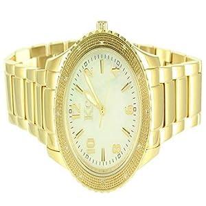 Elegant Mens Kc Techno Com Custom Gold Finish Stainless Steel Real Diamond Watch