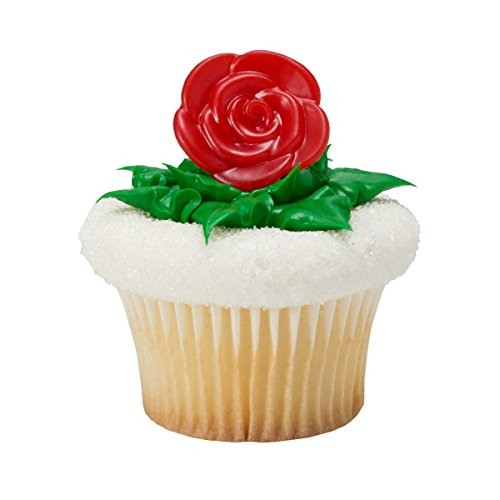 Red Roses Valentine's Day Cupcake Rings - 24 Count]()