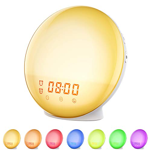 Natural Light Clock Alarm (Wake Up Light Sunrise Alarm Clock, Vproof Bedside Night Light, 7 Colors Ambient Lamp, Dual Clock with FM Radio, Sunrise Sunset Simulation, Snooze Function for Kids, Adults, Heavy Sleepers (White))