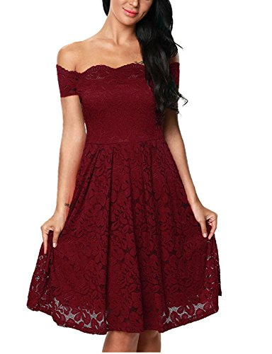A04un as5a0 Women Wine Lace Scalloped Off Shoulder Flared Lace Dress S (Quirky Fancy Dress Ideas)