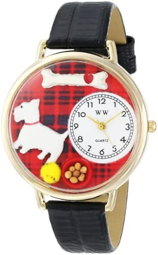 Whimsical Watches Unisex G0130073 Westie Black Skin Leather Watch