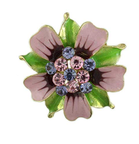 Lilylin Designs Pink and Green Enamel Flower with Crystals Brooch Pin