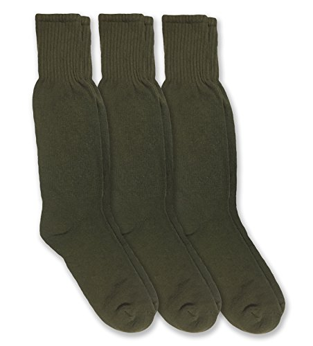 Jefferies Socks Military Combat Mid Calf Boot Socks 3 Pair Pack (Sock: 10-13/Shoe: 9-12, Olive - Season All Calf Sock Mid