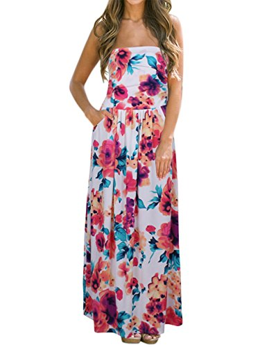 Leadingstar Women Strapless Maxi Vintage Floral Print Graceful Party Long Hawaiian Dress (Asian S, (Hawaiian Party Dress)