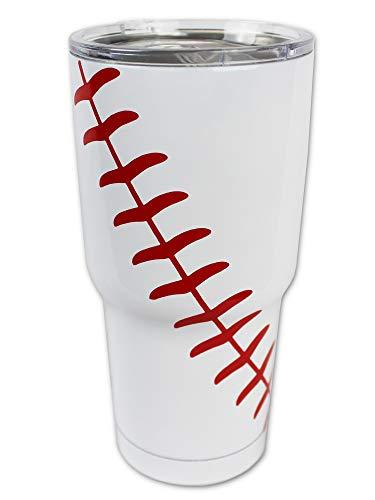 Baseball Tumbler Cup 30oz Gift for Mom Men Sports Coach Travel Coffee Mug, Stainless Steel (Baseball)