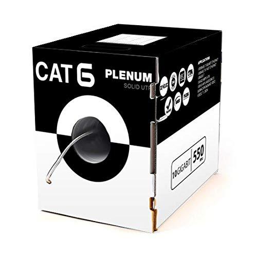 (Cat6 Plenum 1000FT Solid Utp 23AWG 10 Gigabit Ethernet 550Mhz 23AWG Network Cable White)