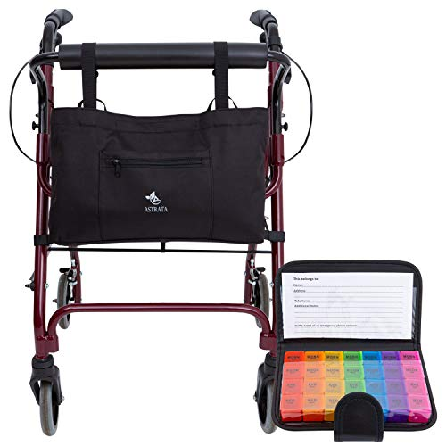 (Rollator Walker Accessories with 7 Day Pill Organizer Box - Seniors Travel Storage Caddy Pouch Bags - Elderly Rollator Accessories with Weekly Medicine Case Container - Tote Holder Pockets & Pillbox)