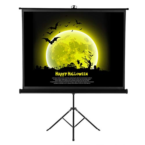 Projector Screen with Foldable Stand Tripod, Excelvan Portable Video HD 100 Inch Diagonal 4:3 Indoor Outdoor Wrinkle-Free Projection Screen for Home Cinema Movie Wedding Party Office Presentation