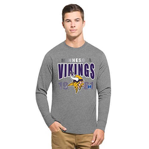 NFL Minnesota Vikings Men's '47 Club Long Sleeve Tee, Large, Slate Grey (Viking Clothes For Sale)
