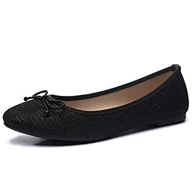 CINAK Women Ballet Flats- Casual Slip-on Comfort Walking Round Toe Loafers Shoes Black Size: 5-5.5 M US