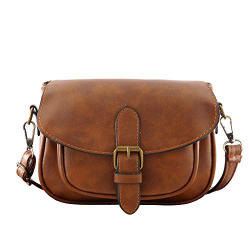 Women Small Vintage Satchel Crossbody Bag PU Leather Saddle Shoulder Purse Handbag(Dark ()