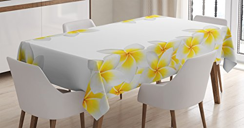 Hawaiian Home Decorations (Ambesonne Hawaiian Decorations Tablecloth, Frangipani blossom exotic nature garden plumeria flower frame relaxation , Rectangular Table Cover for Dining Room Kitchen, 52x70 Inches, Yellow White)