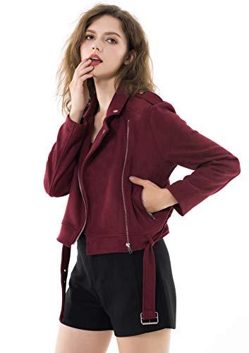 Apperloth Women's Winter Jacket Solid Long Sleeve Faux Suede Zipper Short Coat