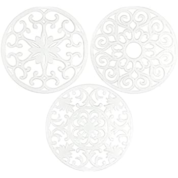 gasaré, Extra Large, Extra Thick, Silicone Trivets, Trivet Mat, Heat Resistant, Non-Slip, Dishwasher Safe, Round Design, for Hot Dishes and Kitchen Countertops, 10 x 3/8 inches, Set of 3, White