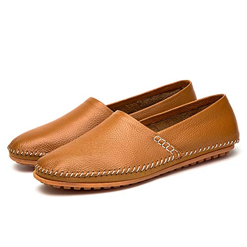 Ofgcfbvxd Flat Mocassini Marrone Slip a Flat in Giallo Dimensione da pelle Casual Scarpe EU On 45 Men's pedale barca Mocassini Color Drive qrC0xq51