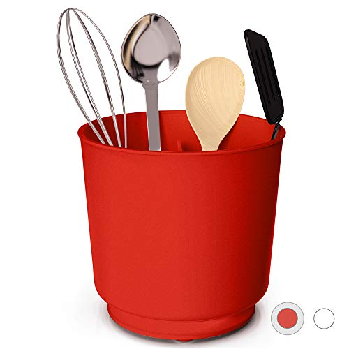 Extra Large Rotating Utensil Holder with Sturdy No-Tip Weighted Base, Removable Divider, And Gripped Insert | Rust Proof and Dishwasher Safe: Red by Cooler Kitchen (Kitchen Utensil Red Holder)