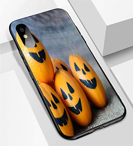 iPhone X/XS Ultra-Thin Phone case Painted Scary Faces on a Holiday of Halloween on Orange Anti-Drop Anti-Slip Soft Convenient Protective Shell