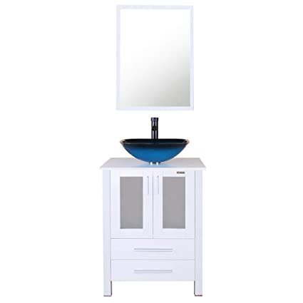 Eclife 24u0026quot; Bathroom Vanity And Sink Combo White Small Vanity Ocean  Blue Square Tempered Glass