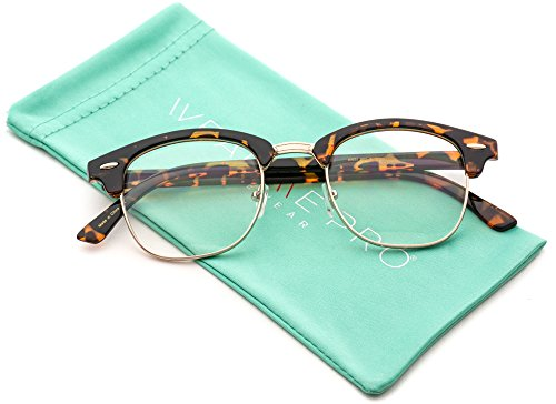 Vintage Inspired Classic Half Frame Horn Rimmed Clear Lens Glasses Optical - Clear Glasses Half Frame