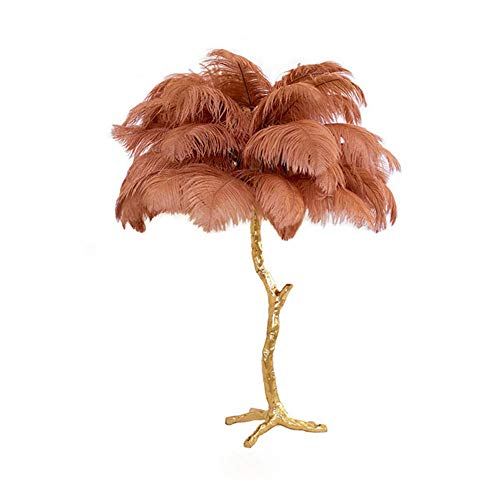 Copper Feather Floor Lamp - Modern Floor Lamps, Modern LED Feather Gold Copper Brass Resin Floor Lamp Tripod Standing Lamp for Living Room Home Decor, Type of Bulbs : E14 60W (Brown)