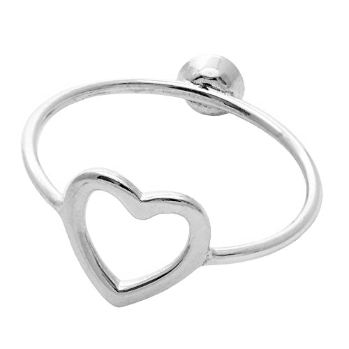 Silverly Women's .925 Sterling Silver Reversible Changing Side Love Heart Single Zirconia Ring