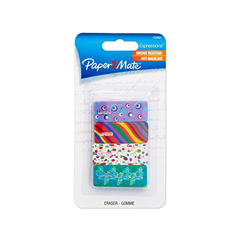 (Paper Mate Expressions Decorated Erasers, 4 Count)