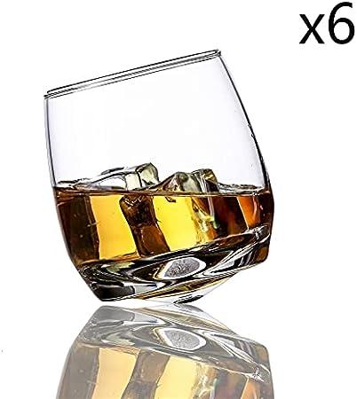 BUGIP Cosa Creativa Girate Gafas de Vino Scotch Whisky Rock Glass para la Oficina de Barra Cerveza Cerveza Jack Whisky Copa de Cristal (Capacity : 270ml, Color : 6 Pieces)