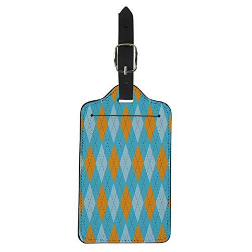 Semtomn Luggage Tag Argyle Pattern Traditional Diamond Check in Shades of Blue Suitcase Baggage Label Travel Tag Labels