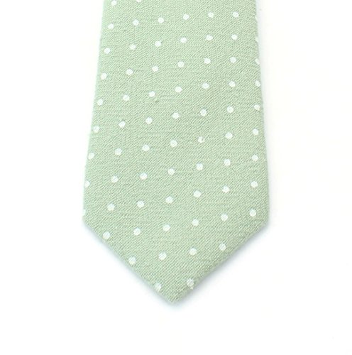 Men's Cotton Skinny Necktie Tie Polka Dot Pattern Textured Fabric Vintage Look - Grey Khaki by Proper Materials (Image #1)