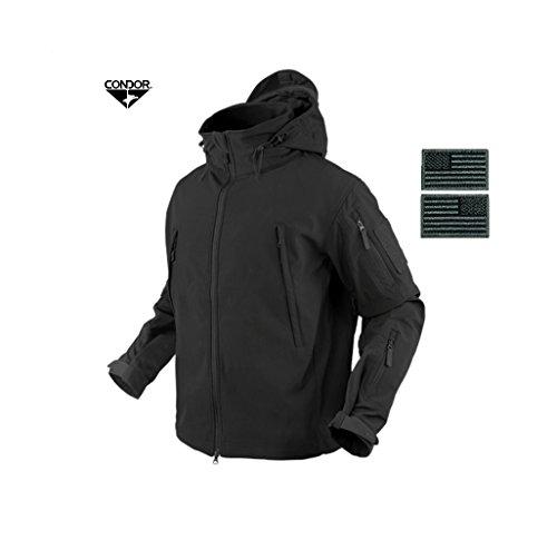 Condor 602 Summit Soft Shell Jacket, Black + 2 FREE Matching Grey/Black Velcro Flag Patches (Medium) Condor Wash